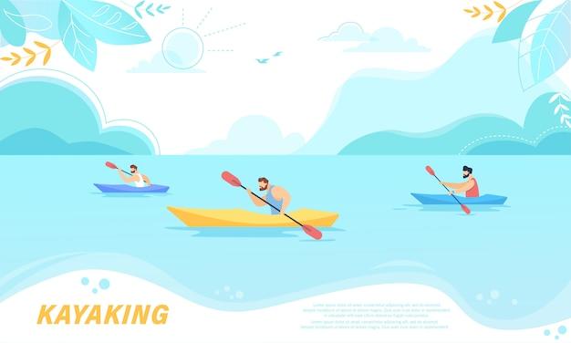Compétition sportive en kayak. les sportifs à l'aviron dans les kayaks à rocky shore.