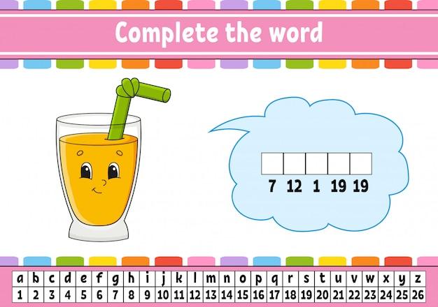 Compléter les mots. code de chiffrement. apprentissage du vocabulaire et des nombres. feuille de travail pour le développement de l'éducation.