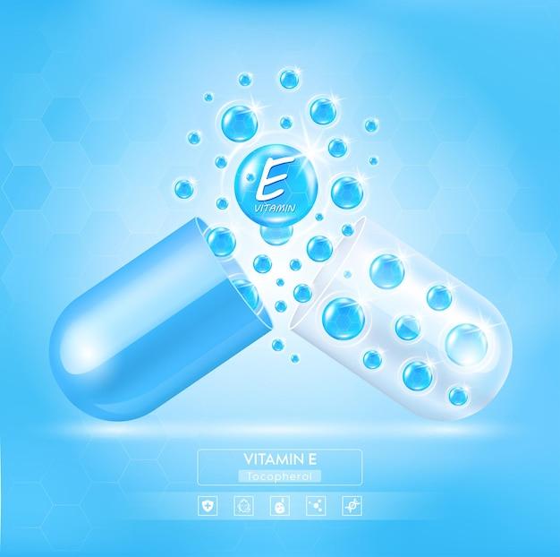 Complexe de capsules de pilules brillantes bleues à la vitamine e avec formule chimique