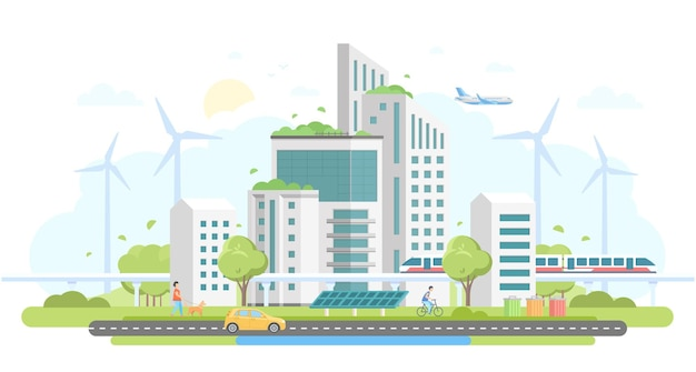 Complexe de logements respectueux de l'environnement - illustration vectorielle de style design plat moderne sur fond blanc. beau paysage urbain avec gratte-ciel, moulins à vent, panneaux solaires, voiture, train, poubelles, personnes, avion