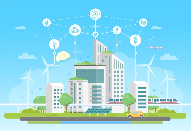 Complexe de logements respectueux de l'environnement - illustration vectorielle de style design plat moderne sur fond bleu avec un ensemble d'icônes. un paysage urbain avec des gratte-ciel, des panneaux solaires, un train. recyclage, concept d'économie d'énergie