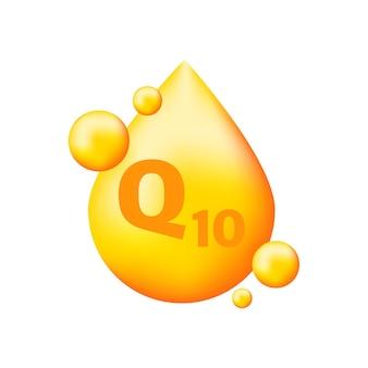 Complexe de vitamines q10 avec goutte réaliste sur gris