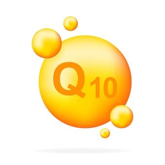 Complexe de vitamines q10 avec goutte réaliste. particules de vitamines au milieu. illustration.