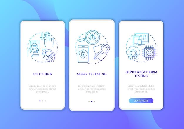 Composants de test d'application sur l'écran de la page de l'application mobile d'embarquement avec des concepts.