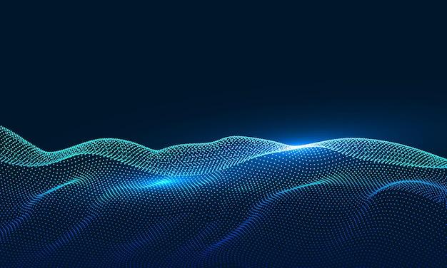 Composé de particules tourbillonnant des graphiques abstraits, arrière-plan du sens de la science et de la technologie.
