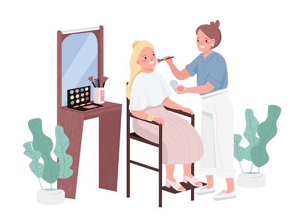 Composez des caractères de couleur plate. traitement de cosmétologie pour jeune femme. maquilleurs professionnels. conseiller styliste. instruction de visage. illustration de dessin animé isolé procédure de salon de beauté