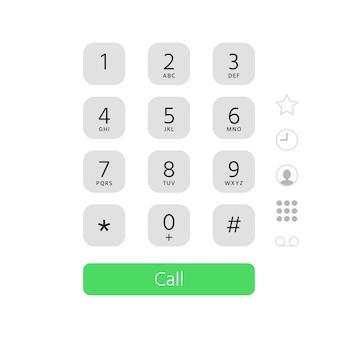 Composez le clavier. illustration plate de l'interface du clavier du numéro de téléphone à écran tactile