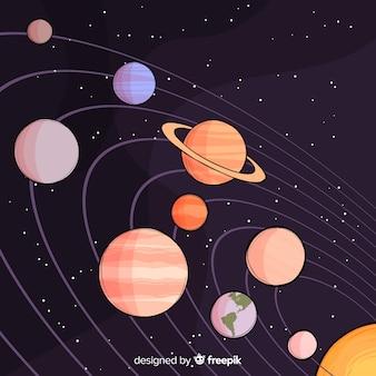 Compositio de système solaire dessiné à la main classique