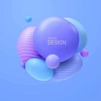 Composition abstraite avec cluster de bulles bleues 3d
