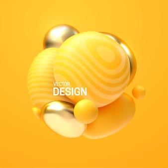 Composition abstraite avec cluster de bulles jaunes et dorées 3d