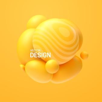 Composition abstraite avec cluster de sphères jaunes 3d