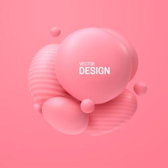 Composition Abstraite Avec Cluster De Sphères Roses 3d Vecteur Premium
