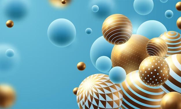 Composition abstraite avec des sphères 3d