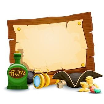 Composition avec accessoires pirates et fond