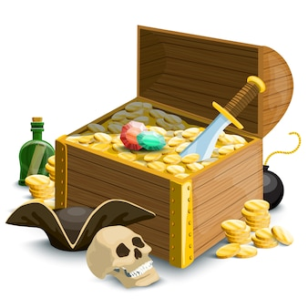 Composition avec accessoires pirates