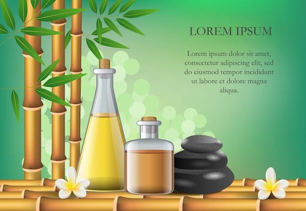 Composition des accessoires de salon de spa et exemple de texte. affiche publicitaire