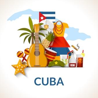 Composition d'affiche de symboles nationaux cubains