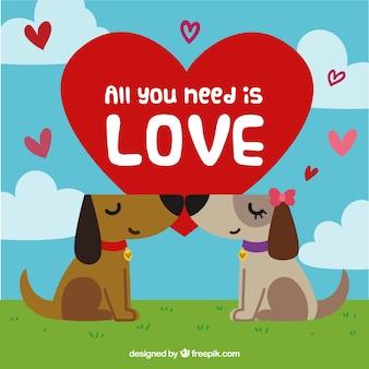 Composition d'amour avec des chiens mignons