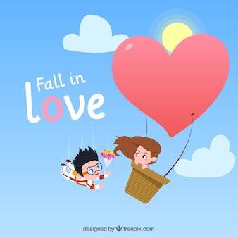 Composition de l'amour avec un design plat