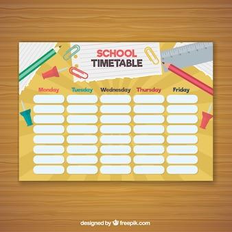 Composition amusante avec matériel et horaires scolaires