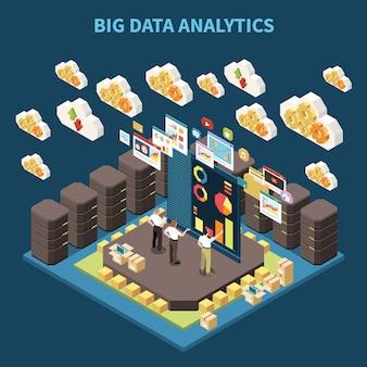 Composition analytique isométrique de big data avec l'équipe sur le brainstorming et les nuages de données dans l'illustration de l'air