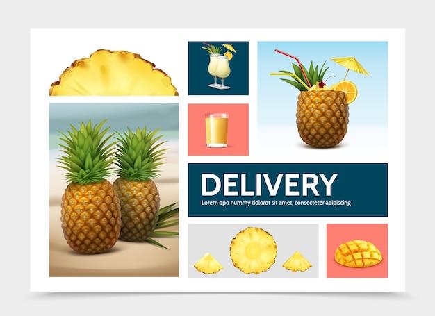 Composition D'ananas Réaliste Vecteur gratuit