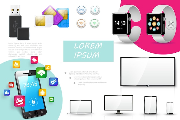 Composition d'appareils numériques réalistes avec boutons de cartes sim de lecteur flash usb smartwatches surveiller les icônes d'applications mobiles de téléphone portable tablette