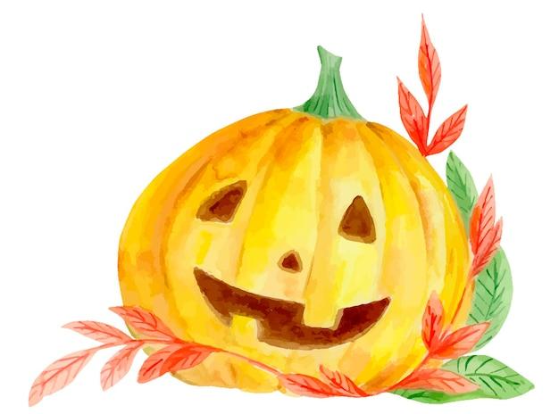 Composition aquarelle de citrouille d'halloween et de feuilles