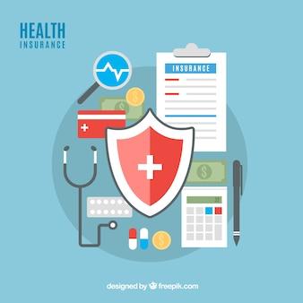 Composition d'assurance santé avec design plat
