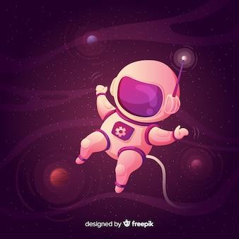 Composition d'astronaute moderne au design plat