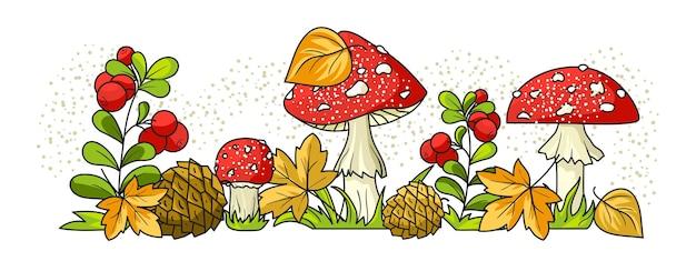 Composition d'automne avec airelles rouges et agarics. la bordure inférieure.
