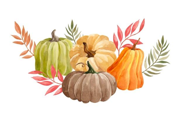 Composition d'automne aquarelle avec des citrouilles colorées et des feuilles sèches