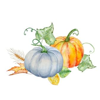 Composition d'automne aquarelle de deux citrouilles différentes avec des feuilles vertes et d'automne