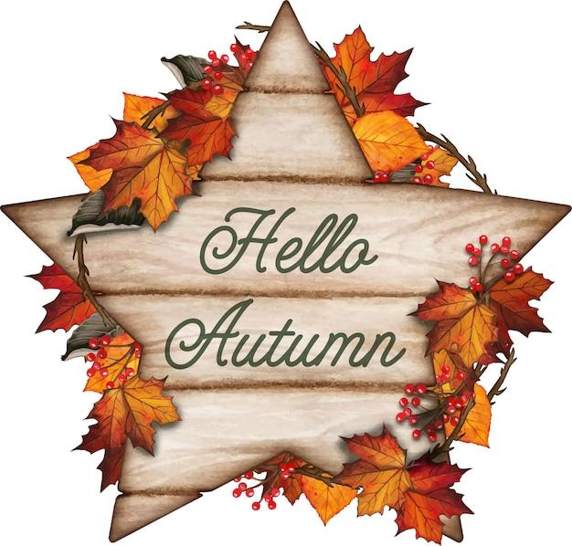 Composition d'automne dessinée à la main à l'aquarelle avec des feuilles d'automne et un signe astrologique en bois