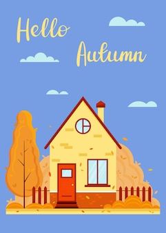 Composition d'automne avec des feuilles qui tombent de la maison et lettrage bonjour modèle de carte de voeux d'automne