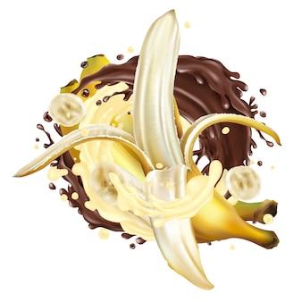 Composition de bananes avec chocolat et éclaboussures de lait.