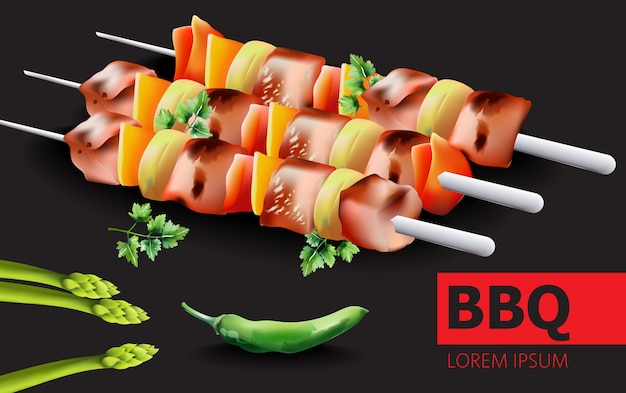 Composition de barbecue, poivron vert chaud, asperges et persil