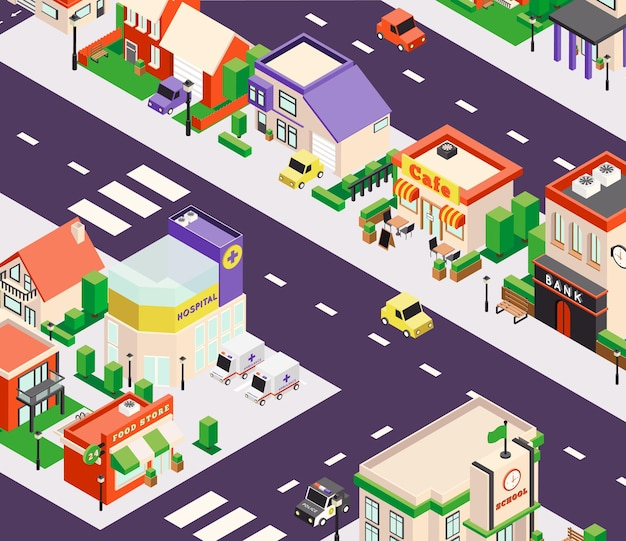 Composition de bâtiments de ville isométrique avec vue en perspective à vol d'oiseau du pâté de maisons avec boutiques et café