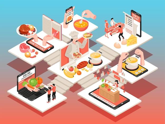 Composition de blog d'école de cuisine avec ensemble d'illustrations isométriques