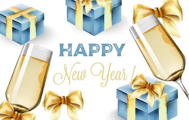 Composition de bonne année avec coupe de champagne et coffrets cadeaux bleus