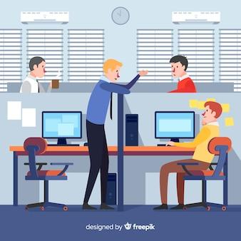 Composition de bureau moderne avec un design plat