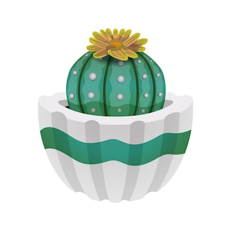 Composition de cactus avec image isolée de cactus avec fleur en pot sur blanc