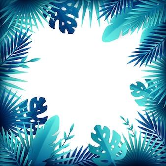 Composition de cadre de fleurs feuilles tropicales en papier avec un espace vide entouré de buissons et de plantes exotiques
