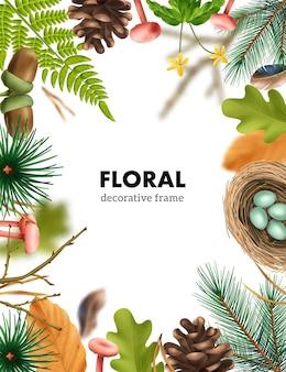 Composition de cadre de forêt botanique réaliste
