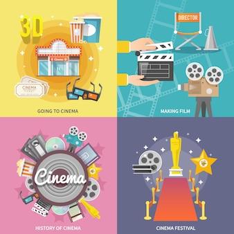Composition carrée de cinéma 4 icônes plat