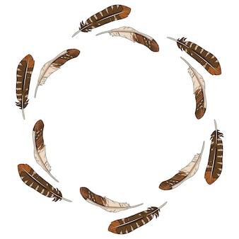 Composition de cercle de couronne de plumes.