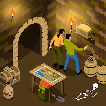 Composition de chasse au trésor isométrique avec vue sur une tombe souterraine avec une paire de chasseurs tenant un coffre au trésor
