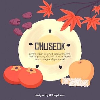 Composition chuseok traditionnelle avec un design plat