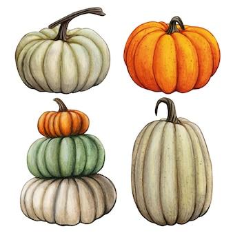 Composition de citrouille d'automne aquarelle dessinée à la main