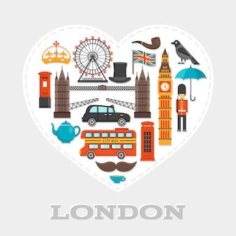 Composition de coeur de londres ou affiche avec jeu d'icônes sur le thème de londres combiné en grand coeur blanc